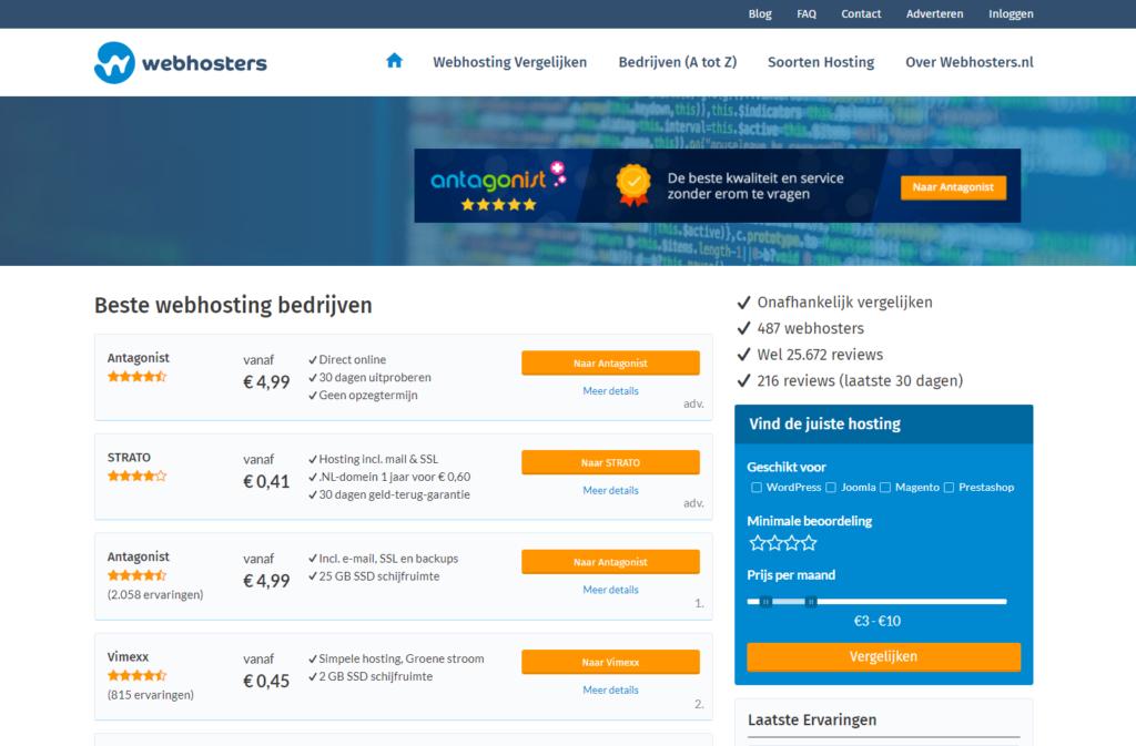 screenshot webhosters